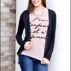 "Forever and Ever French script shirt Beautiful stretchy material with French script which says ""Forever and Ever"". True to size small (2-4), med (6-8), lg 10-12. Tops Tees - Short Sleeve"
