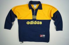 ADIDAS Teamwear Vintage Sweater Jumper Size M Yellow Navy Blue Special Design