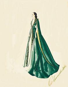 Sketch of Scarlett's green velvet wrapper from the separate bedrooms scene.