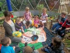 Early Years Foundation Stage Curriculum - Talking time in the Solardome outdoor classroom Alfreton Nursery School