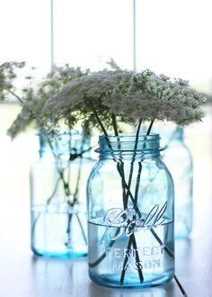 aqua blue mason jars....i do love my blue jars!