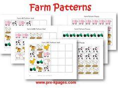 Printable Farm Pattern Activity for preschool and kindergarten