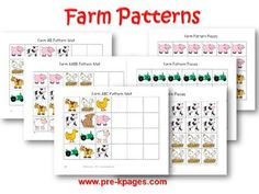 Printable Farm Pattern Activity for preschool and kindergarten