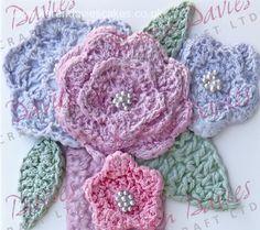 Miscellaneous Moulds: Crochet Flowers & Leaves Mould - Karen Davies Moulds