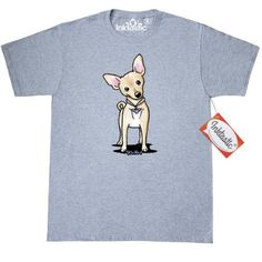 Inktastic Curious Chihuahua T-Shirt By KiniArt Fawn Dog Breed Heart Chichi Chih Black And White Tea Cup Teacup Toy Mens Adult Clothing Apparel Tees T-shirts Kim Niles, Size: XXL, Grey