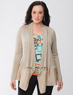 Add a hint of warmth and the chic, mixed-material trend to your layered looks with this Lane Collection linen cardigan. Lightweight draped overpiece pairs knit and woven panels for modern fashion detail. Long sleeves and open front. lanebryant.com