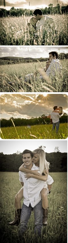 Engagement pictures in a field - so fun!... want my prom pics in a field like this.