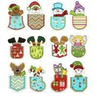 Christmas Pockets Applique Machine Embroidery Designs | Design by JuJu