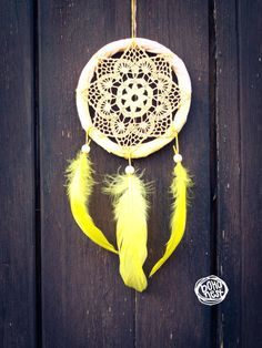 Dream Catcher - Summer Sunrise- With Transitional Crochet Web and Yellow Feathers - Boho Home Decor, Nursery Mobile