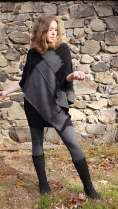 cashmere poncho-recycled sweater-asymetrical hem- cape-  upcycled sweater- made to order patchwork clothing- black and gray- one size by Jeorjia on Etsy https://www.etsy.com/listing/210399575/cashmere-poncho-recycled-sweater