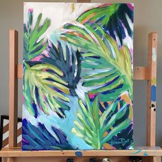 Follow me on Instagram @lauradrodesigns 18x24 acrylic on canvas Minty Palms…