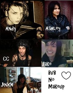 Black Veil Brides without Makeup! by XxTabbixX on DeviantArt Andy Biersack, Jake Pitts, Andy Black, Emo Bands, Music Bands, Bvb Wallpaper, Vail Bride, We Are The Fallen, Bvb Fan