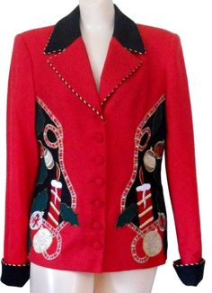 Ugly Christmas Sweater Party Blazer 8 Wool Ladies Women Red Holiday Tacky #Jenna #Blazer