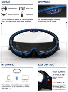 Smart Swimming Goggles - If you are an avid diver then I am sure you will appreciate the #concept of the Smart #Swimming Goggles. This simple eye cover actually assists with communication between #divers and capturing of memories in photo and video format. The Goggles include functions like built-in GPS, 'call' button, 3-D Camera, and Bluetooth connectivity. Read more at http://www.yankodesign.com/2013/05/24/smart-swimming-goggles/#1gAOp21wfZOh5QL1.99