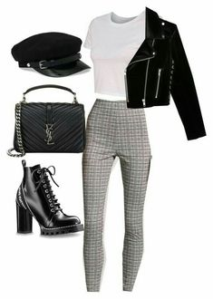 Edgy grunge plaid pants outfit outfits in 2019 идеи наряда, Mode Outfits, Winter Outfits, Casual Outfits, Ladies Outfits, Teen Fashion, Fashion Outfits, Fashion Trends, College Fashion, Skirt Fashion