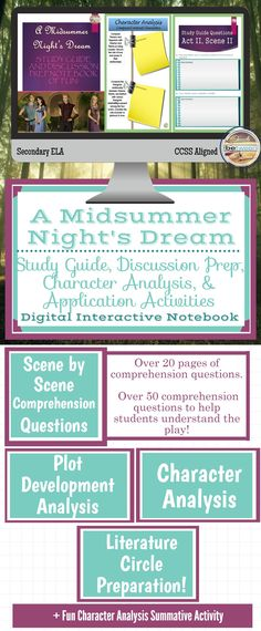 This 45 page interactive student notebook will help your students fully comprehend and analyze one of Shakespeare's finest comedies- A Midsummer Night's Dream. This student guide will take your students through this play from beginning to end, ensuring a deep read and a great wealth of understanding.