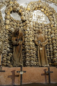 Rome, Italy.This display is found under the Capuchin monastery of Santa Maria della Concezione in Rome, a multiroom crypt that combined architectural elements replicated in human bone with the mummified bodies of monks who had died in the monastery.Truly amazing!