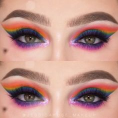 This rainbow blend was so fun to do! By: @jessicarose_makeup #howtodomakeup