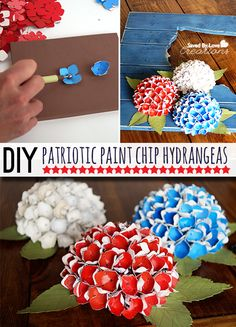 Make Patriotic Paint Chip Craft Paper Hydrangeas @savedbyloves