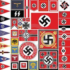 Nazi Flag Set Stock Photography
