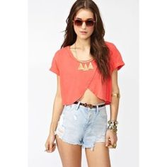 Nasty gal wrap around cropped tee Wrapped cropped shirt from nasty gal. Perfect for summer, the beach, and going out. Nasty Gal Tops Crop Tops