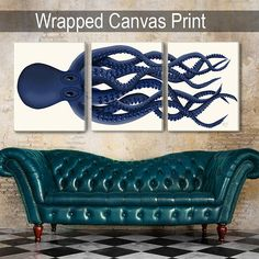 Giant Octopus Print Blue Octopus Triptych Set of 3  octopus