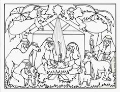 christmas coloring book page for kids that puts the focus on baby jesus
