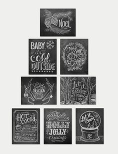 Assorted Christmas Cards - Chalkboard Cards - Christmas Note Card Set - Christmas Chalkboard - Black and White Christmas Christmas Note, White Christmas, Christmas Holidays, Christmas Crafts, Holiday Fun, Christmas Decorations, Christmas Island, Happy Holidays, Lily And Val