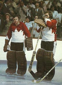 Team Canada goaltenders Tony Esposito and Ken Dryden, Summit Series Ice Hockey Players, Hockey Goalie, Nhl Players, Hockey Games, Montreal Canadiens, Ken Dryden, Hockey Boards, Goalie Mask, Of Montreal