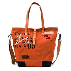 Handprinted Orange Canvas Tote Bag // Recycled and Repurposed by peace4you, GERMANY // Model pauline-2128