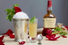 Run for the Roses Julep by, Susie O (Susie Drinks Dallas)   Ingredients: 12 fresh mint leaves (stemmed) 5 drops rosewater 1 part simple syrup 2 parts Maker's Mark® Bourbon Crushed or shaved ice Rose petals Mint sprig Powdered Sugar Julep cup  Please re-pin to vote for this Julep. Find full recipe and directions by clicking the pin. #JulepOff