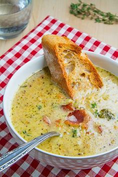 Roasted Broccoli and Cheddar Soup - Serve garnished with bacon and grainy mustard to kick things up a bit.