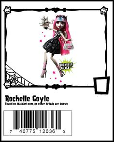 Rochelle Goyle Monster High Wave 4 Doll - This was the debut Rochelle doll. She is the daughter of a gargoyle and is 415 years old. She is from Scaris, France and a transfer student at Monster High. She is very protective of her friends. She has a crush on Deuce. He can look at her without his sunglasses on as gorgons' and basilisks' stares do not affect gargoyles. Rochelle loves to sculpt and is fond of architecture. Her pet is a gargoyle-modeled griffin named Roux.
