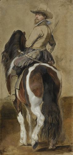 Sir Peter Paul Rubens (Siegen 1577 - 1640 Antxerpt), Study of a Horse with a Rider, oil on canvas, 46 by 22 in., 118 by 56 cm. Peter Paul Rubens, Anthony Van Dyck, Sir Anthony, Rubens Paintings, Horse Paintings, Baroque Art, Digital Museum, Principles Of Art, Collaborative Art