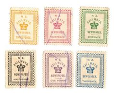 NEW ZEALAND 1890 Railway Newspaper. Set of 6, excludes the 3d Brown. - 20990 - FU - NZ Fiscals Railway Charges - New Zealand Stamps - NEW ZEALAND - EASTAMPS