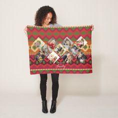 Folk Art PHOTO Blanket Instagram Collage Burgundy - burgundy style stylish cyo diy customize