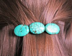 TURQUOISE HAIR CLIP stone blue barrette silver for by Blitzrider, $15.99 TURQUOISE HAIR CLIP stone blue barrette silver for her accessory western metal boho teal birthday wedding party favor gift