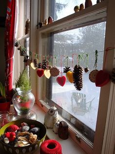 Winter nature table -adding beeswax hearts to the garland makes for a lovely winter-hanging Natural Christmas, Noel Christmas, Homemade Christmas, Winter Christmas, Christmas Crafts, Christmas Ornaments, Fall Winter, Autumn, Bohemian Christmas