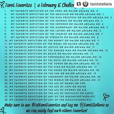 #Repost @tarotstellaria with @repostapp ・・・ I did it! My first self-hosted IG challenge! Join me in February, the month of Love, for a challenge showing off our favorite depictions of EACH (gasp!) of the Majors as well as some other cards dear to my heart!  I'm so excited to see everyone's favorites!! Please make sure to tag me and use #FebTarotFavorites in each of your posts so we can find each other easily and I can keep up with all of your posts!!!  Let's hear it for our FAVORITES! Muc...