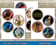 Star Wars 2 and 4 inchs Birthday Party Circles by OlivettaDesign