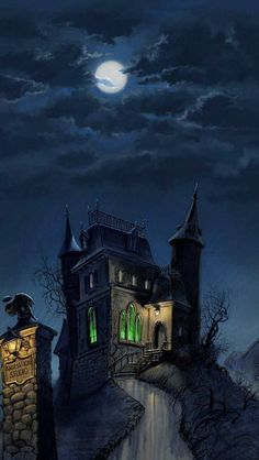 Every day is Halloween: Photo Casa Halloween, Halloween Artwork, Halloween Drawings, Halloween Haunted Houses, Halloween Pictures, Haunted Mansion, Halloween Wallpaper, Halloween Horror, Vintage Halloween