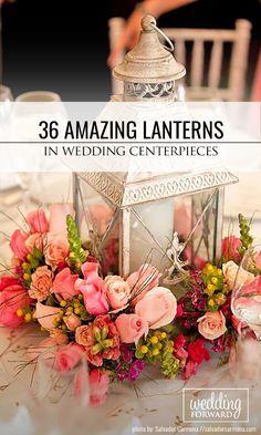 36 Amazing Lantern Wedding Centerpiece Ideas We propose to consider lantern wedding centerpiece ideas with candles or beautiful flowers inside. See more: http://www.weddingforward.com/lantern-wedding-centerpiece-ideas/ #weddings #decoration