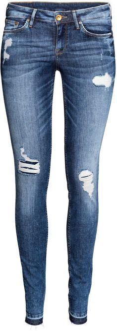 H&M - Super Skinny Low Ripped Jeans - Denim blue - Ladies