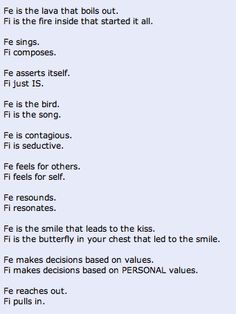 A beautiful summary of Fe and Fi
