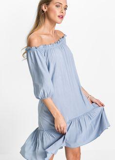 Kleid mit Volant mit Carmen- Ausschnitt
