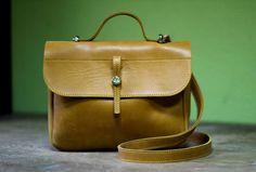 Small leather bag, shoulder bag, handmade leather bag, cross body bag, Lira Yellow