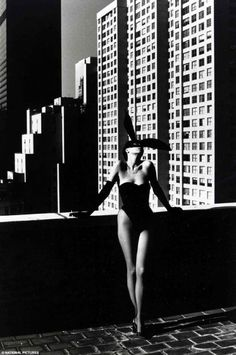 "Elsa Peretti in a Halston ""Bunny"" costume photographed by Helmut Newton in 1975"