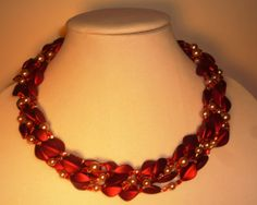 Necklace Beaded Royal Red Siam AB SquareCut Glass by ZorilaneStone, $50.00