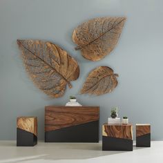 Birch Leaves on the wall, hand-cut from metal sheets and dressed in a copper patina with a satin finish. and Make a dramatic statement on the wall with this natural motif and w 3d Wall Decor, Unique Wall Decor, Metal Wall Decor, Copper Wall Art, Metal Leaf Wall Art, Metal Clock, Decor Market, Phillips Collection, Wall Sculptures