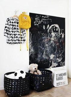 Praktische Kreidetafel An Der Wand Im Flur Ort Zum Malen Für Klein Und/oder